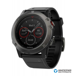 Умные часы серые с черным ремешком Garmin Fenix 5x Sapphire