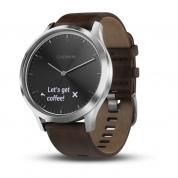 Умные часы серебристые с темно-коричневым кожаным ремешком Garmin Vivomove HR
