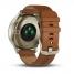 Умные часы золотые со светло-коричневым кожаным ремешком Garmin Vivomove HR