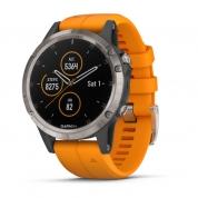 Умные часы титановые с оранжевым ремешком Garmin Fenix 5 Plus Sapphire