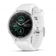 Умные часы белые с белым ремешком Garmin Fenix 5s Plus Sapphire