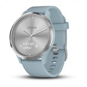 Умные часы серебристые с голубым ремешком Garmin Vivomove HR
