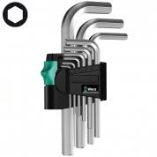 Набор Г-образных ключей, метрических, хромированных WERA 950/9 SM N 021406