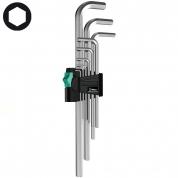 Набор г-образных ключей, метрических, хромированных WERA 950 L/9 SM N 021909