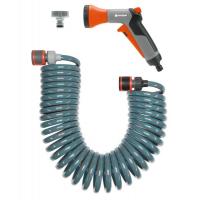 Комплект Gardena: шланг спиральный для террас + фитинги + пистолет-наконечник для полива