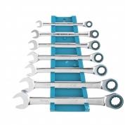 Набор ключей комбинированных с трещоткой GROSS, 8-19 мм, 7 шт, CrV