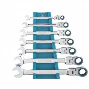 Набор ключей комбинированных с трещоткой GROSS, 8-19 мм, 7 шт, шарнирные, CrV