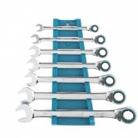 Набор ключей комбинированных с трещоткой GROSS, 8-19 мм, 7 шт, реверсивные, CrV