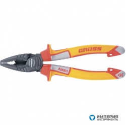 Плоскогубцы комбинированные GROSS, диэлектрические трехкомпонентные рукоятки до 1000 В, 180 мм