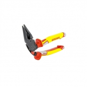 Длинногубцы с изогнутой головой GROSS, комбинированные, диэлектрические рукоятки до 1000 В, 200 мм
