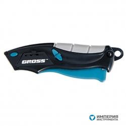 Нож ремонтно-монтажный GROSS МИНИ, трехкомпонентная рукоятка, авто выброс, возврат лезвия, 100 мм, 2 запасных лезвия