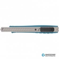Нож GROSS 130 мм, металлический корпус, выдвижное сегментное лезвие 9 мм (SK-5), металлическая направляющая, клипса для ремня