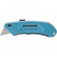 Нож GROSS 130 мм, алюминиевый корпус, выдвижное трапециевидное лезвие 18 мм (SK-5), клипса для ремня, 4 лезвия