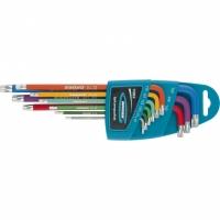 Набор ключей имбусовых GROSS HEX, 1,5-10 мм, S2, 9 шт, магнит, экстра-длинные с шаром, хром/краска