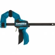 Струбцина реечная GROSS, быстрозажимная, пистолетного типа, пошаговый механизм, пластиковый корпус, 150 мм