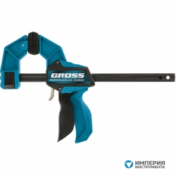 Струбцина реечная GROSS, быстрозажимная, пистолетного типа, пошаговый механизм, пластиковый корпус, 450мм