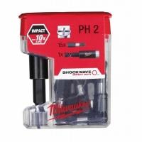Набор бит для шуруповерта Milwaukee Shockwave PH2 х 25мм (15шт) + битодержатель