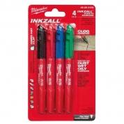 Набор маркеров Milwaukee INKZALL 4 (Синий/Красный/Зеленый/Черный)