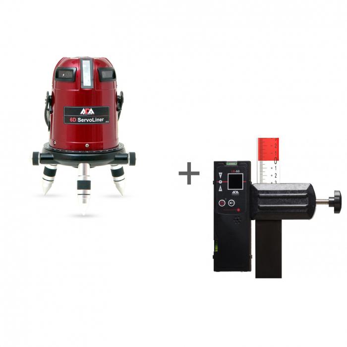 Уровень лазерный ADA 6D SERVOLINER + приемник луча построителей плоскости ADA LR-60 в подарок!
