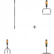 Черенок Fiskars QuikFit™ большой + Насадка-пропалыватель Fiskars QuikFit™ + Насадка-тяпка Fiskars QuikFit™ + Насадка-культиватор Fiskars QuikFit™