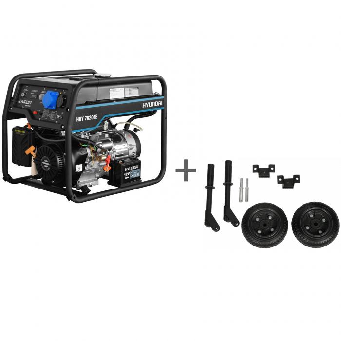 Генератор бензиновый Hyundai HHY 7020FE + Комплект транспортировочный в подарок!