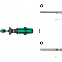 Комплект: Динамометрическая отвертка WERA 7400, регулируемая, 0,30-1,2 Nm 074700 + # 1/70 мм 855/4 PZ/S 059896 + # 2/70 мм 855/4 PZ/S 059897