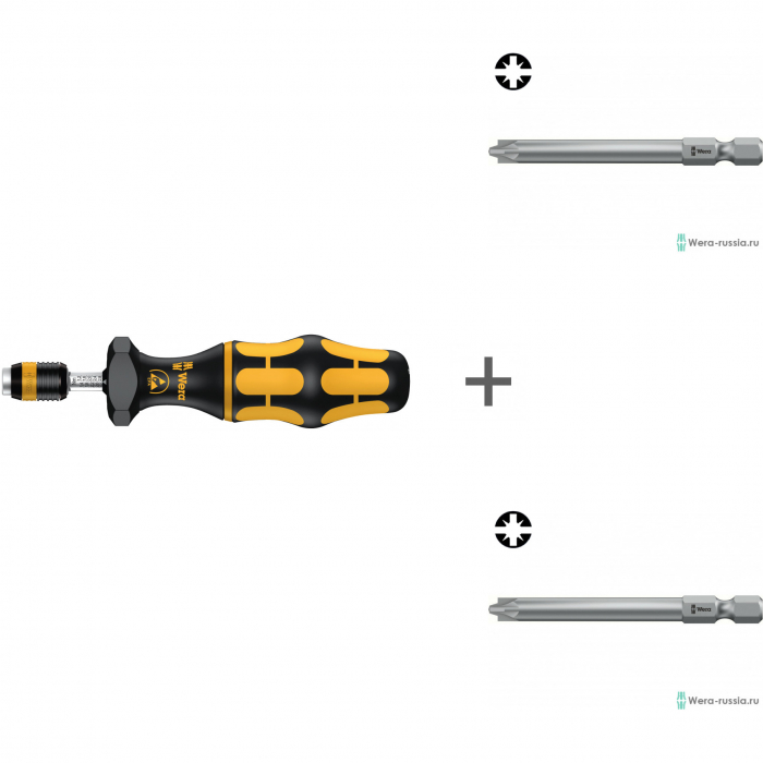 Комплект: Регулируемая динамометрическая отвертка с патроном WERA Rapidaptor, Kraftform ESD, 7400, 7440 ESD, 074730 + # 1/70 мм 855/4 PZ/S 059896 + # 2/70 мм 855/4 PZ/S 059897