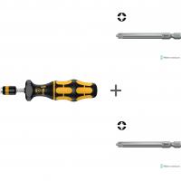 Комплект: Регулируемая динамометрическая отвертка с патроном WERA Rapidaptor, Kraftform ESD, 7400, 7441 ESD, 074731 + # 1/70 мм 855/4 PZ/S 059896 + # 2/70 мм 855/4 PZ/S 059897