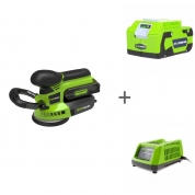 Шлифовальная машина эксцентриковая G24 24V GREENWORKS G24ROS + аккумулятор G24B4 + зарядное устройство G24C