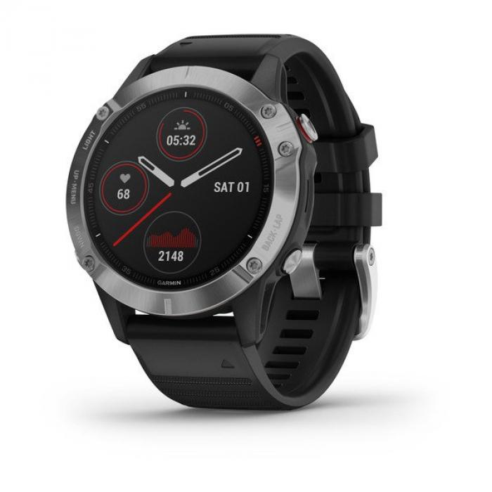 Умные часы серебристые с черным ремешком Garmin Fenix 6 Silver