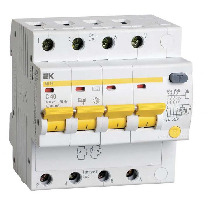 Дифференциальный автоматический выключатель IEK АД14 4Р 40А 100мА