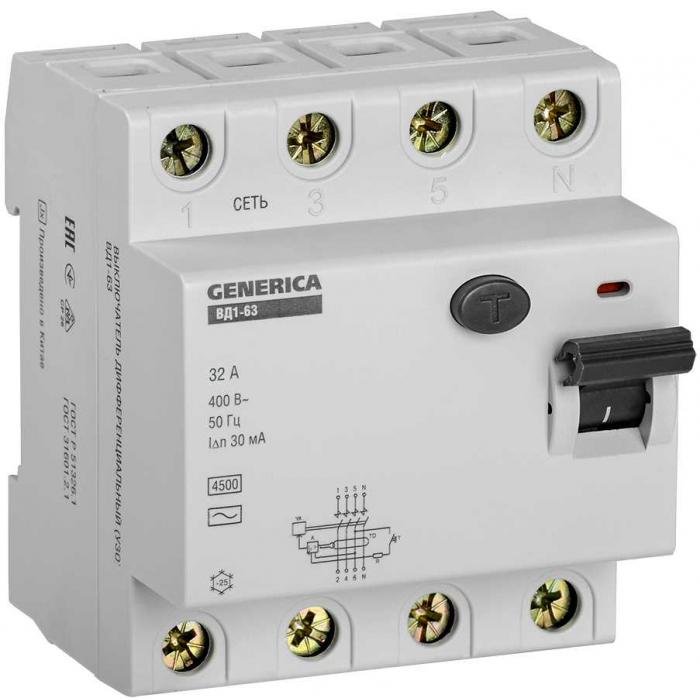 Выключатель дифференциальный (УЗО) IEK ВД1-63 4Р 32А 30мА GENERICA