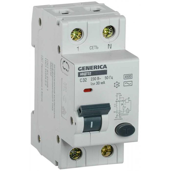 Автоматический выключатель дифференциального тока IEK АВДТ32 C32 GENERICA