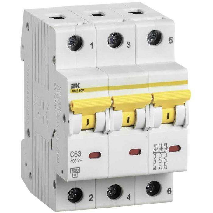 Выключатель автоматический IEK ВА47-60M 3Р 32А 6кА С