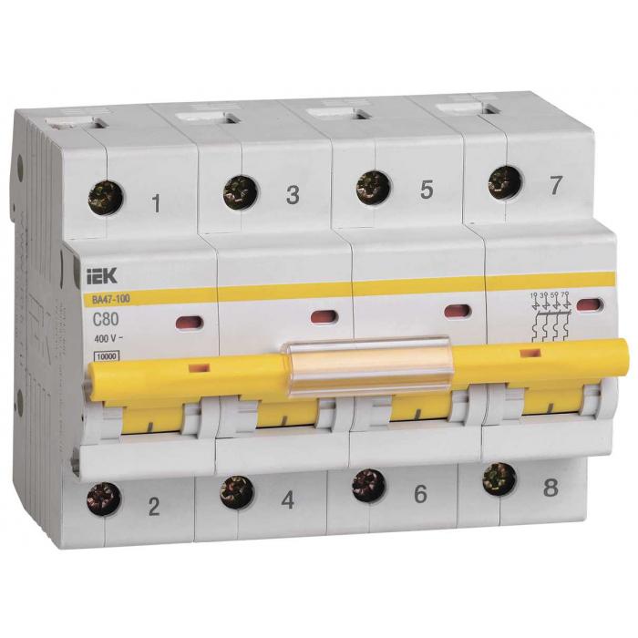 Выключатель автоматический IEK ВА47-100 4Р 80А 10кА С