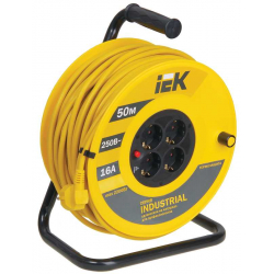 Катушка IEK УК50 с термозащитой 4 места 2P+PE/50м 3х1,5мм2 INDUSTRIAL