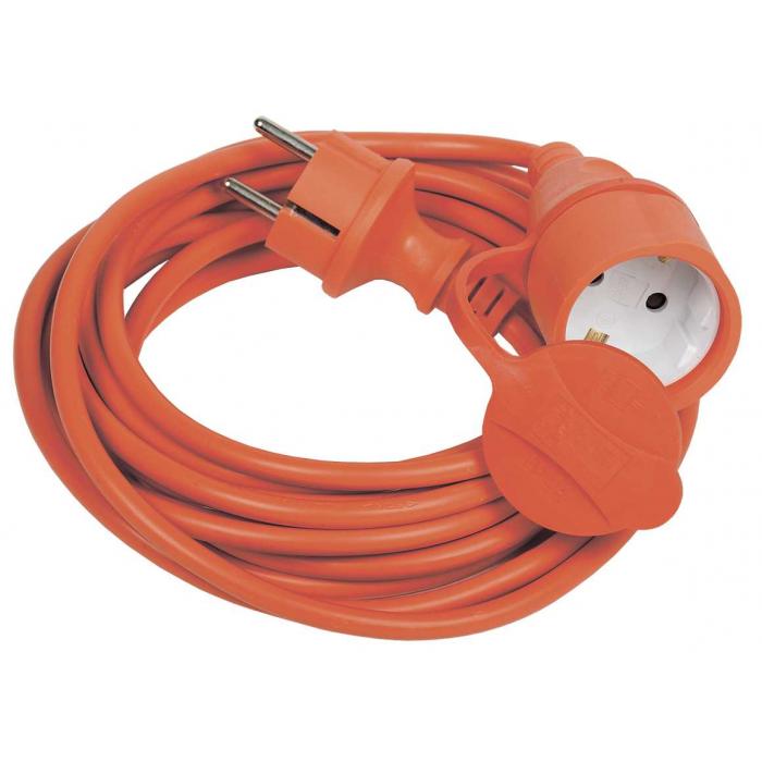Шнур УШ-01РВ с вилкой и розеткой IEK 2P+PE/10м 3х1,0мм2 IP44 оранжевый