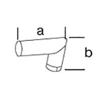 Угловой адаптер Leister, насаживается (a x b ), Ø 50 мм, длина колен 160 х 100 мм