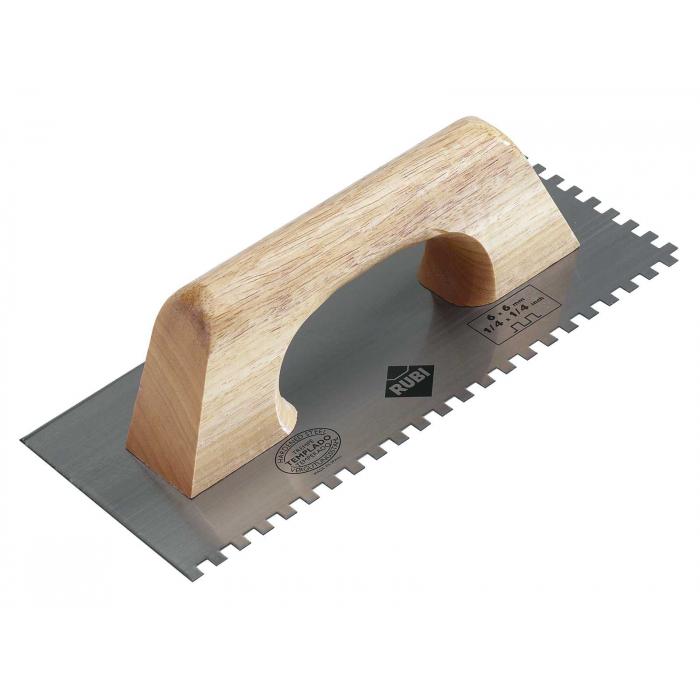 Гребёнка стальная RUBI 280 мм зуб 6x6 мм с деревянной ручкой