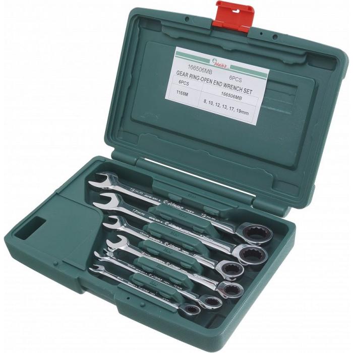 Комплект трещоточных комбинированных ключей Hans 8-19 мм, 6 шт