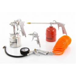 Набор пневмоинструмента Matrix 5 предметов, быстросъемное соединение, краскораспылитель с верхним бачком