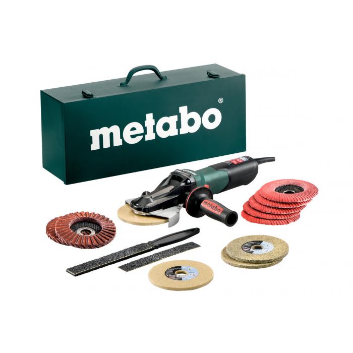 Угловая шлифовальная машина с плоским редуктором Metabo WEVF 10-125 Quick Inox Set