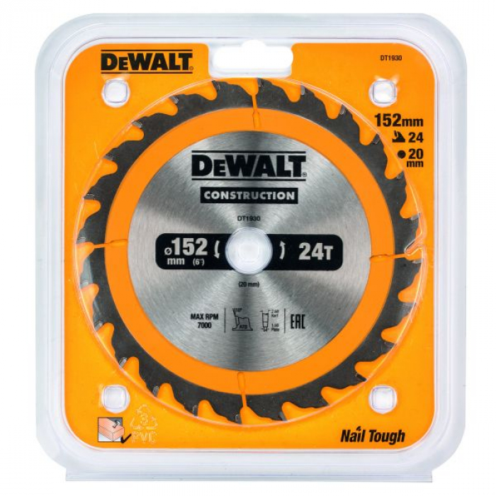 Пильный диск DeWALT CONSTRUCTION DT1930, 152/20 мм.
