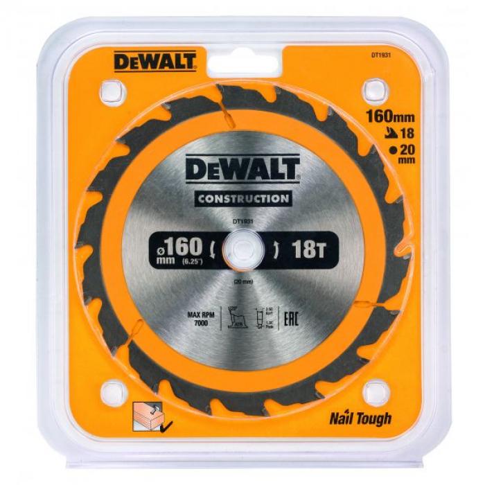 Пильный диск DeWALT CONSTRUCTION DT1931, 160/20 мм.