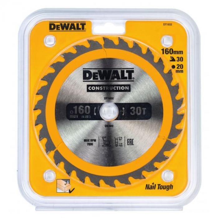 Пильный диск DeWALT CONSTRUCTION DT1932, 160/20 мм.