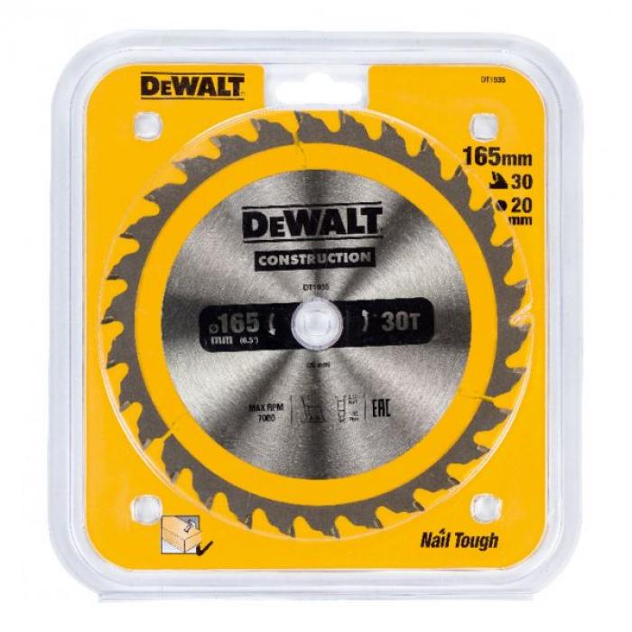 Пильный диск DeWALT CONSTRUCTION DT1935,165/20 мм.