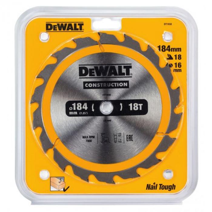 Пильный диск DeWALT DT1938, CONSTRUCTION по дереву с гвоздями 184/16, 18 ATB +20°