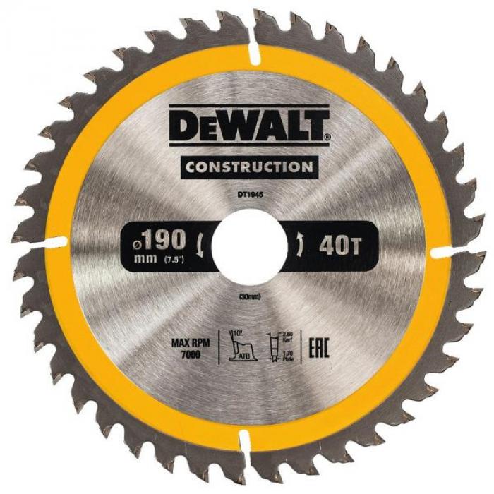 Пильный диск DeWALT CONSTRUCT DT1945, 190/30 мм.