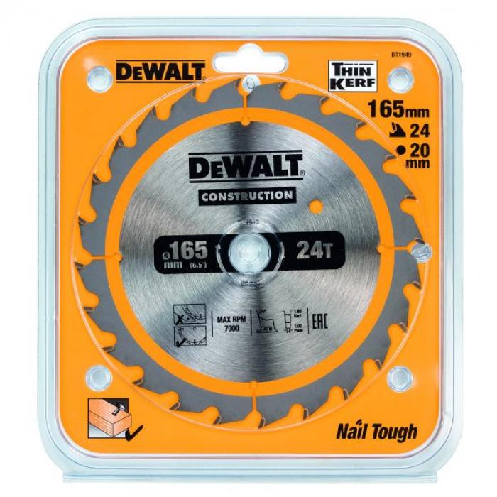 Пильный диск DeWALT DT1949, CONSTRUCTION по дереву с гвоздями 165/20, 24 ATB +24°
