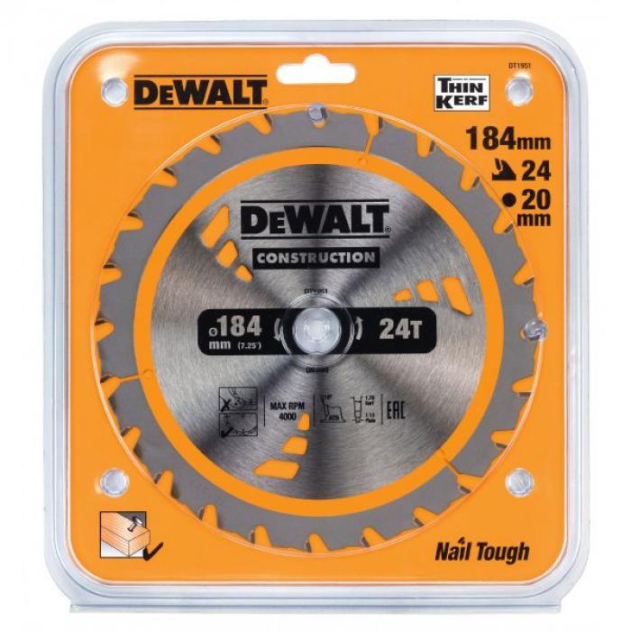 Пильный диск DeWALT CONSTRUCTION DT1951, 184/20 мм.